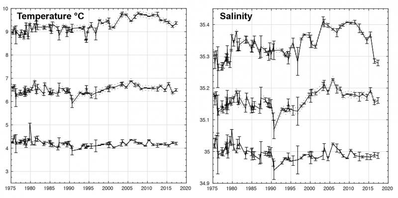 Time series of temperature and salinity in the Rockall Trough