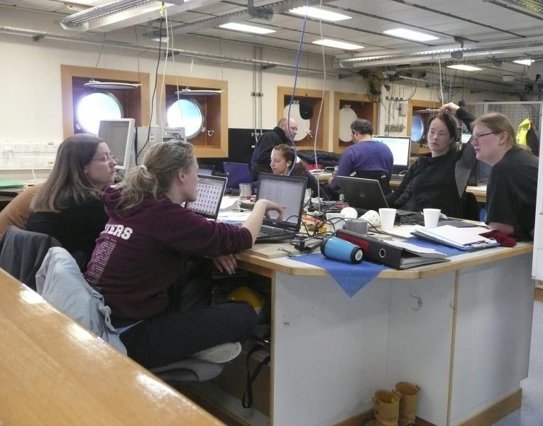 Scientists in the main lab on RRS James Cook