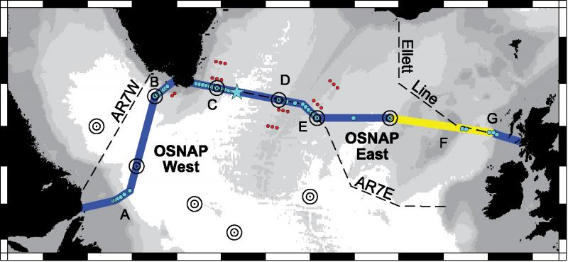 map of OSNAP, the new North Atlantic monitoring programme
