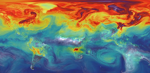 Atmospheric carbon dioxide levels in 2012. Source: NASA