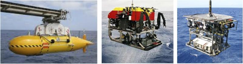 Left: Autosub 6000; centre: ROV Isis; right: RUV HyBIS