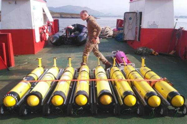 Submarine gliders on the launch vessel at SAMS prior to deployment