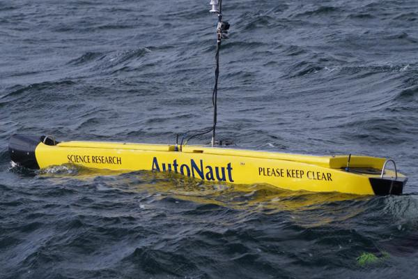 AutoNaut out at sea after deployment