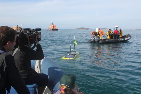 The BBC team film Waveglider