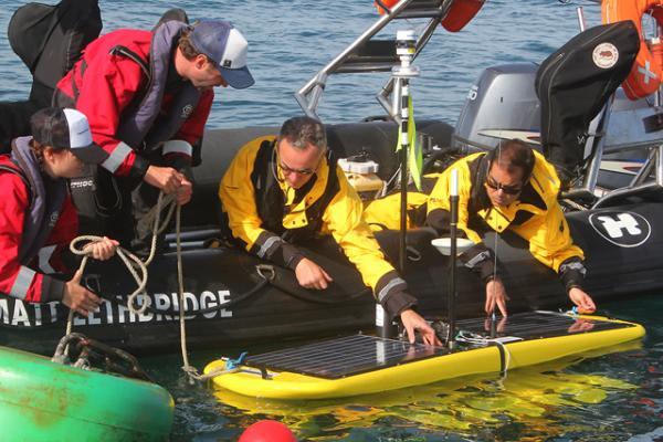 The Waveglider receiving last-minute checks