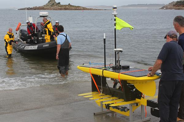 Waveglider launched from slip in the Isles of Scilly