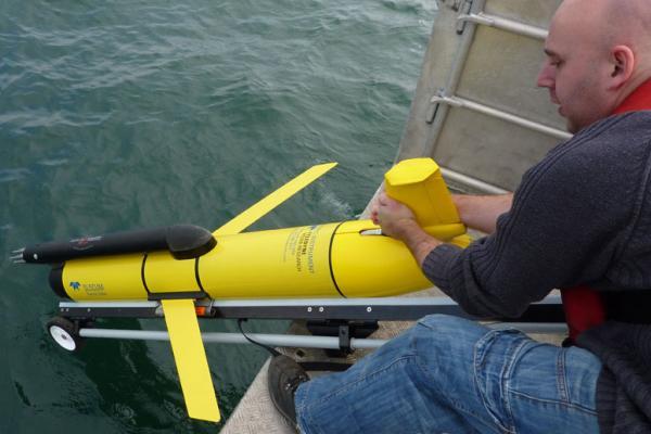Glider deployed off side of ship