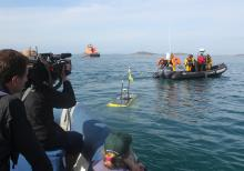 The BBC team film Waveglider