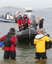 The RIB getting ready to deploy the vehicles