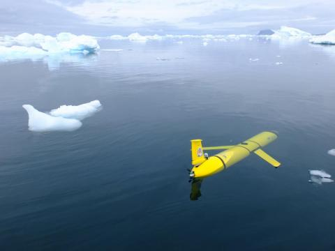 C2 piloted glider in ice field