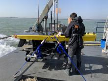 Preparing to launch Wave Glider fitted with Oceanids sensors