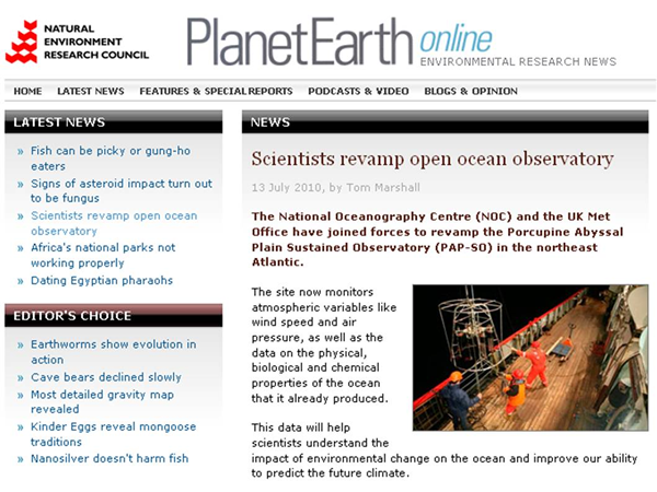 PlanetEarth online, NERC's environment research news website