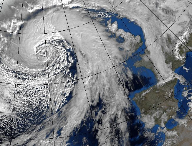 "Fig. 2  Example of an atmospheric eddy: winter storm over the north Atlantic (picture from <a href=""http://metofficenews.wordpress.com/2013/01/28/the-worst-storm-in-years"">UK MetOffice</a>)."