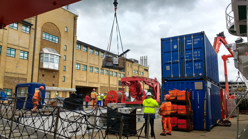 Loading equipment on to the RV Maria S. Merian at the National Oceanography Centre, Southampton (image courtesy Kate Peel)