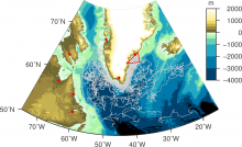Trajectories of surface drifters passing through the red triangle near 65N, 40W.  Bathymetry is shaded.