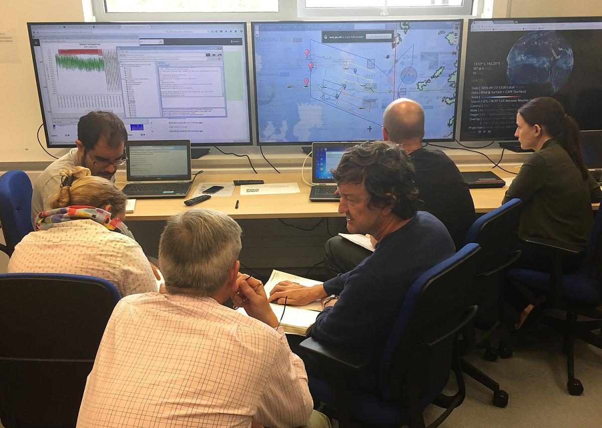 NOC and Dstl staff analysing incoming glider data during MASSMO3. Image courtesy of NERC/Dstl/RN