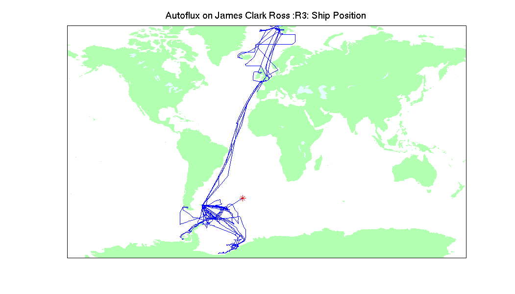 Plot of the cruise track during the 3 year measurement campaign.