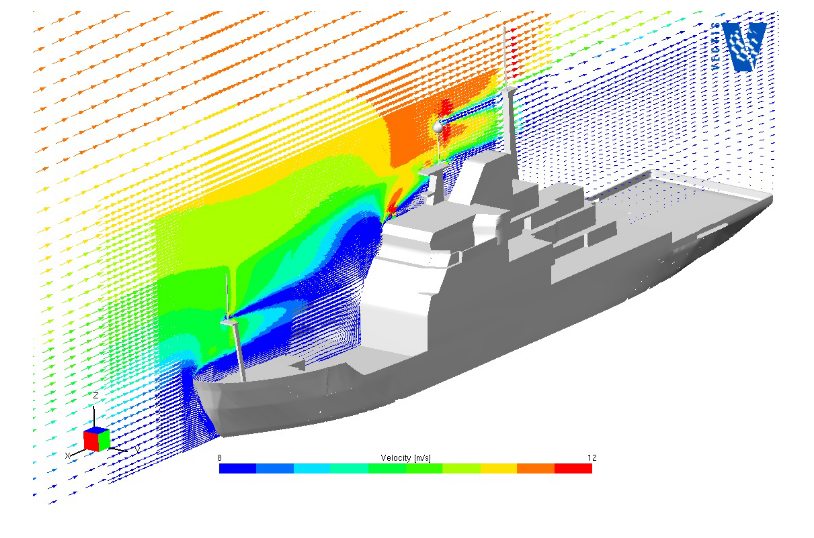 Fig. 1 : the bow-on airflow over the RRS James Clark Ross (blue represents a low wind speed and red a high wind speed)